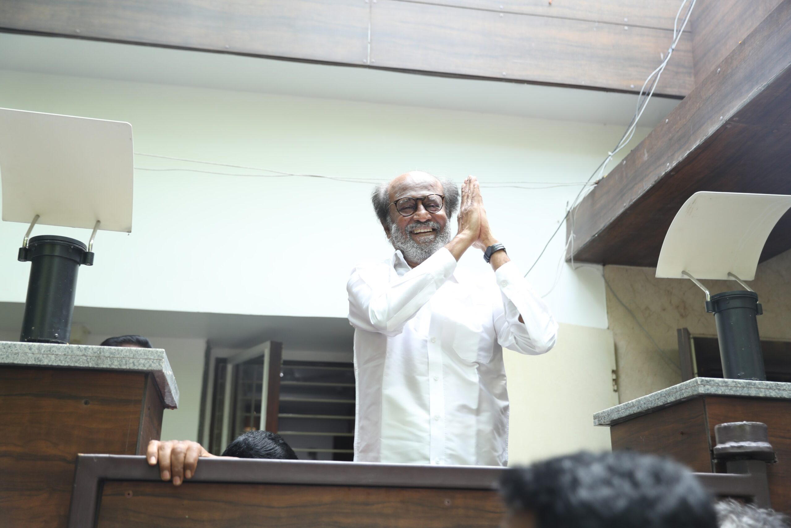 Rajinikanth Meets Fans and Media